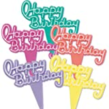Dress My Cupcake DMC41HB-6 12-Pack Vintage Happy Birthday Signs Pick Decorative Cake Topper, Assorted Neon