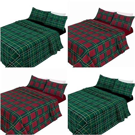 Tartan Flannelette Brushed Cotton Sheet Set Include Fitted Flat Sheet Pillowcase