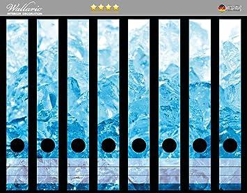Wallario Ordnerrücken selbstklebend 12 schmale Ordner Eiswürfel blau