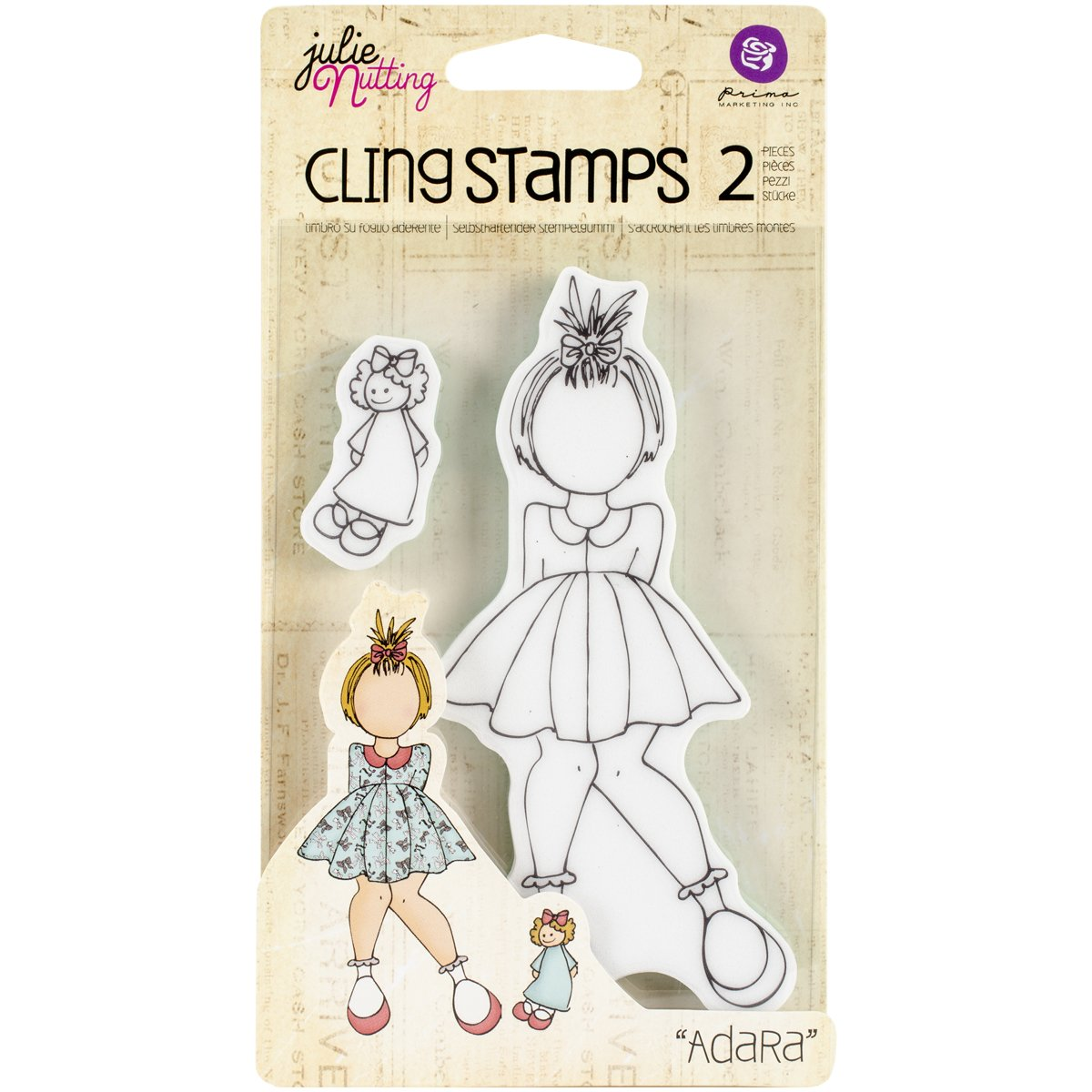 Prima Marketing Julie Nutting Mixed Media Cling Rubber Stamps, 3.5-Inch by 5.5-Inch , Adara 10815