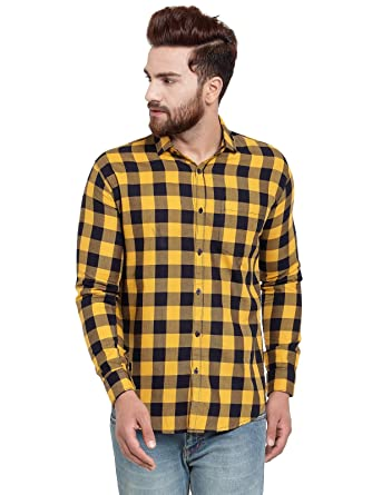 Buy Pacman Yellow Checkered Smart Slim Fit Mens Formal Cotton Shirt Shfs0139 At Amazon In