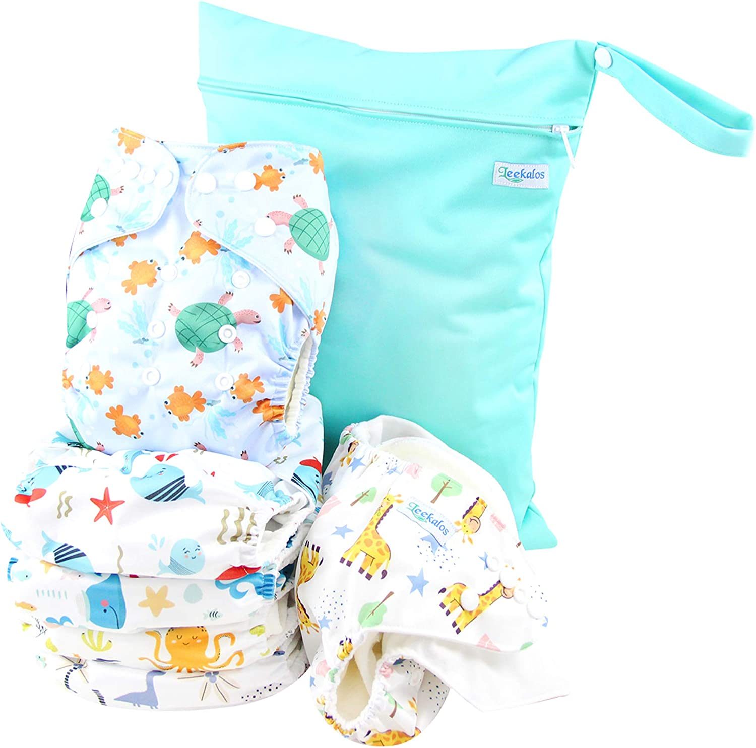 Leekalos Cloth Diapers Reusable for Boys and Girls, Baby Diaper Cloth with Bamboo Inserts & Wet Bag