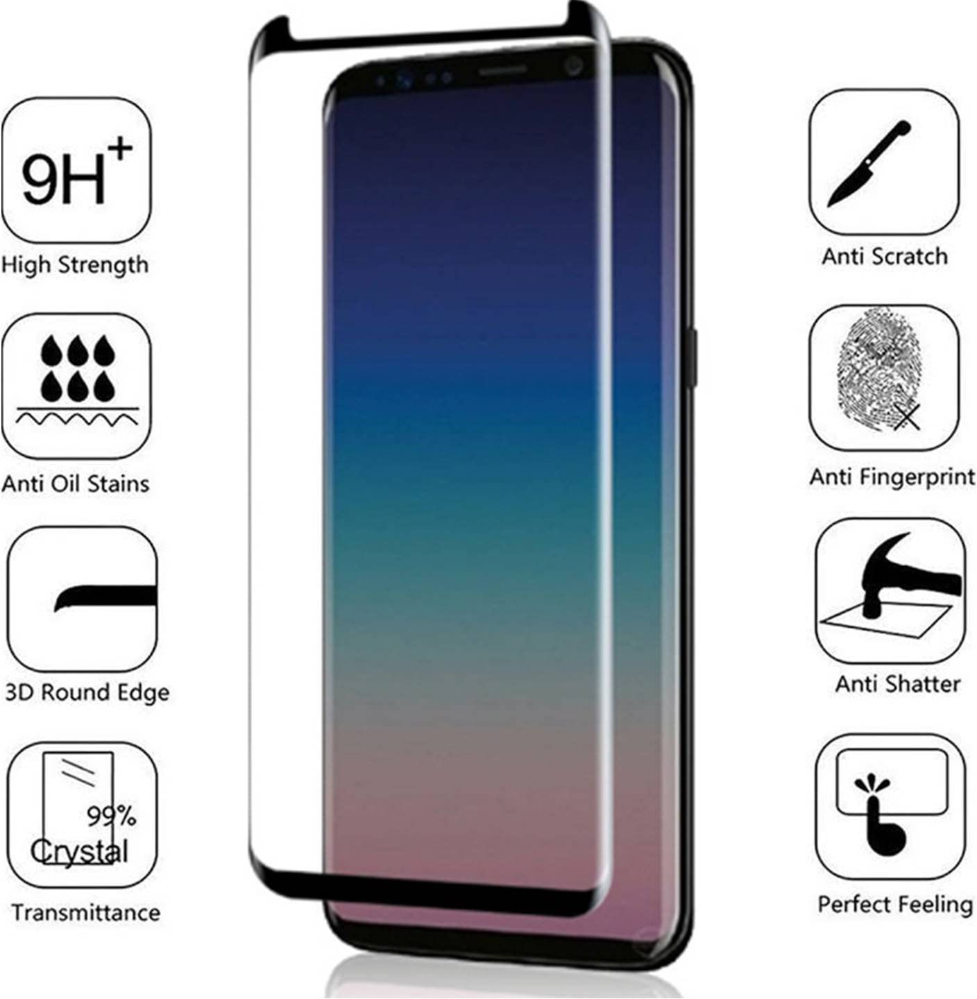 Anti-Scratch Lifetime Protection /& Replacement 3D Curved Full Coverage Samsung Galaxy S9 Plus Screen Protector Tempered Glass BISEN Anti-Shock Edge-to-Edge Full Screen Cover