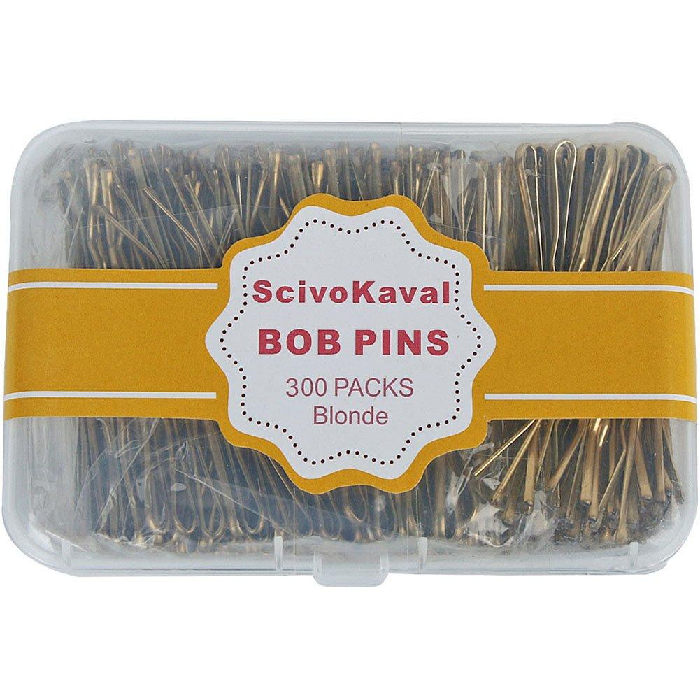 ScivoKaval Bobby Pins Bulk Champagne Gold for Blonde 300 Count Hair Bob Pins Bulk in a Case Box Tub