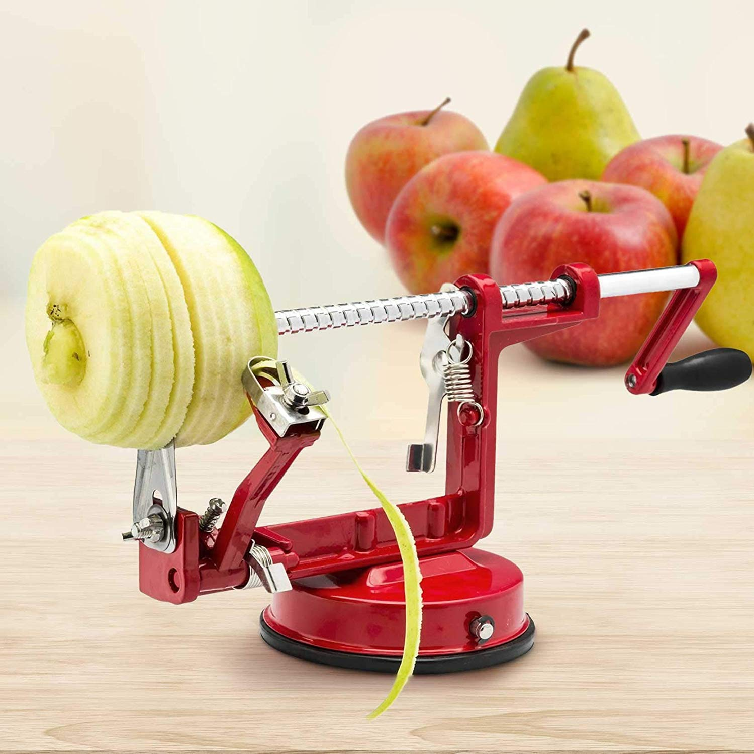 Apple peeler, corer, spiralizer