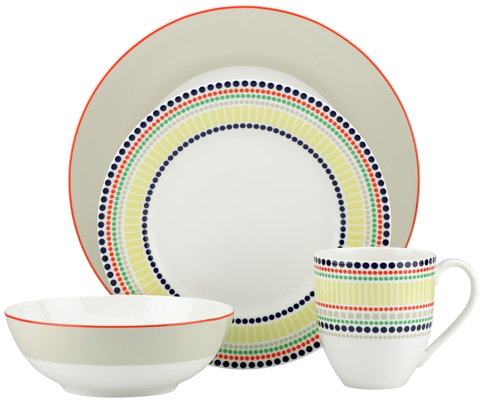 kate spade new york Hopscotch 4-piece Place Setting, Taupe
