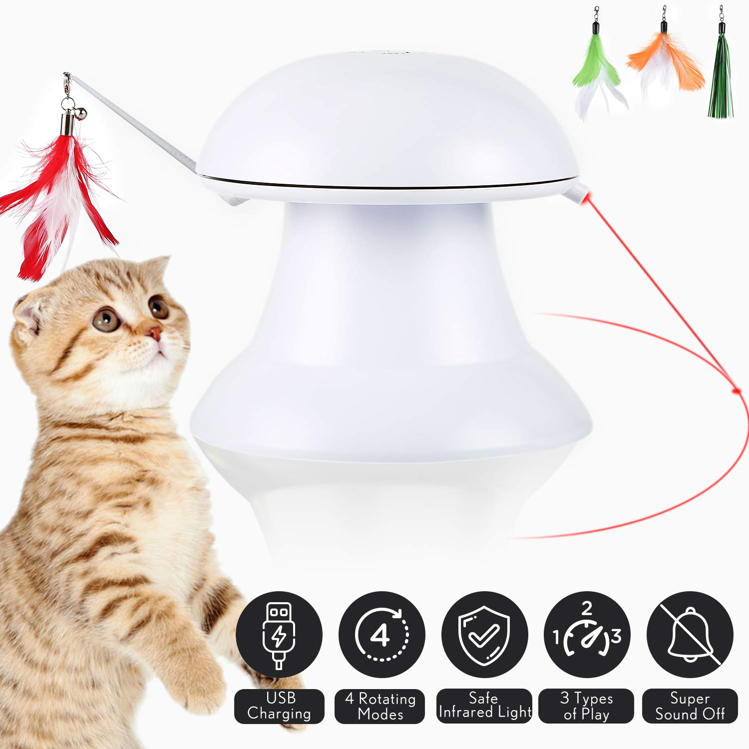 Upgraded Cat Laser Toy,Cat Toys Interactive,2 in 1 Automatic Cat Toy,Moving Feather Toy with Laser Pointer,Electronic Cat Chaser Toy Indoor,Auto Rotating Light,Multiple Feather Hangings,3 Ways to Play by petnf