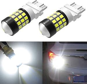 Alla Lighting T25 3157 3156 Strobe Reverse Light LED Bulbs Super Bright 2835 39-SMD High Power 3056 3156 4057 3457 3057 3157 LED Strobe Flashing Back-up Light Bulbs, 6000K Xenon White (Set of 2)