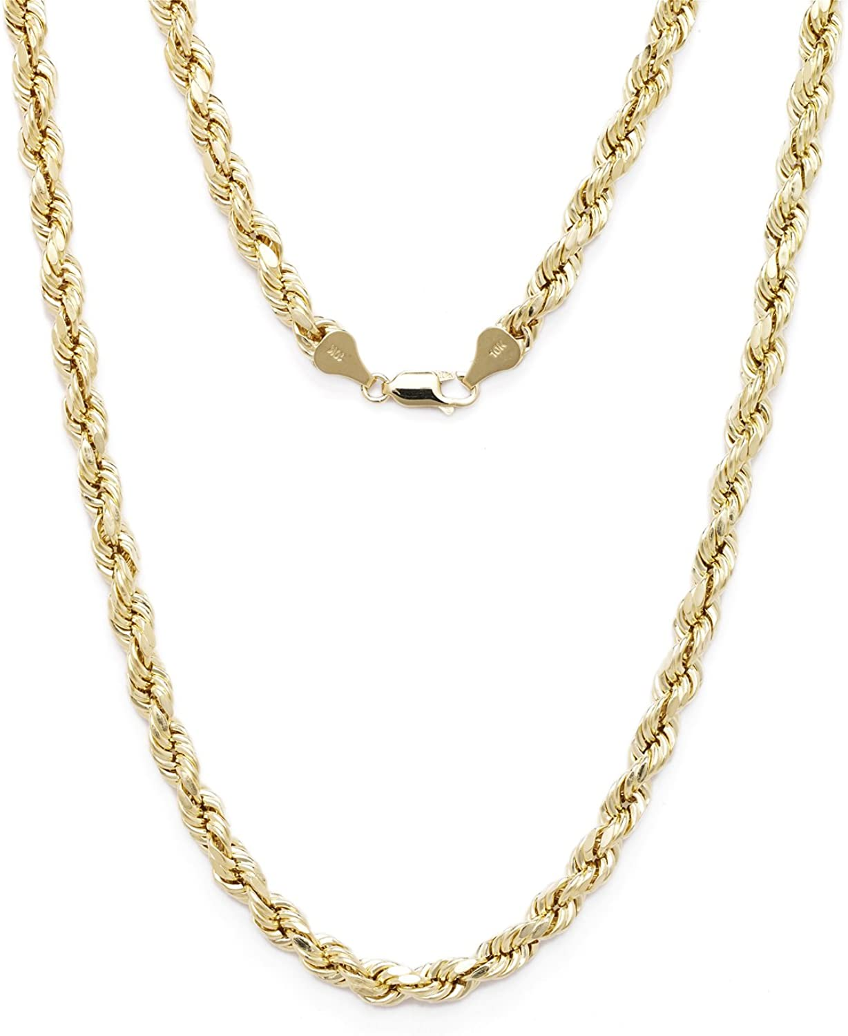 3mm Floreo 10k Yellow Gold Diamond Cut Hollow Rope Chain Necklace with Lobster Claw Clasp for Men and Women