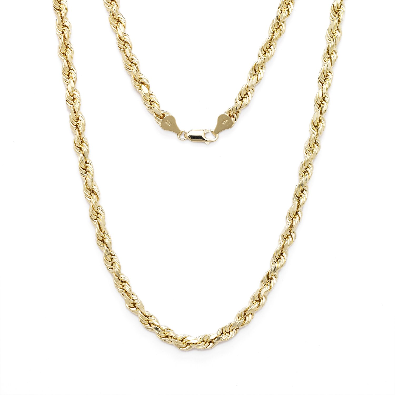 28 Inch 10k Yellow Gold Diamond Cut Hollow Rope Chain Necklace with Lobster Claw Clasp, 2.5mm by SL Chain Collection