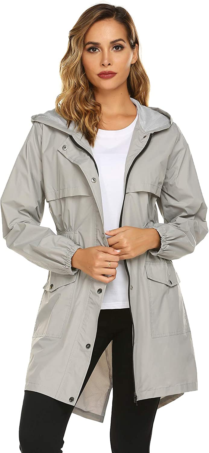Avoogue Womens Rain Coat Lightweight Hooded Long Raincoat Outdoor Breathable Rain Jackets