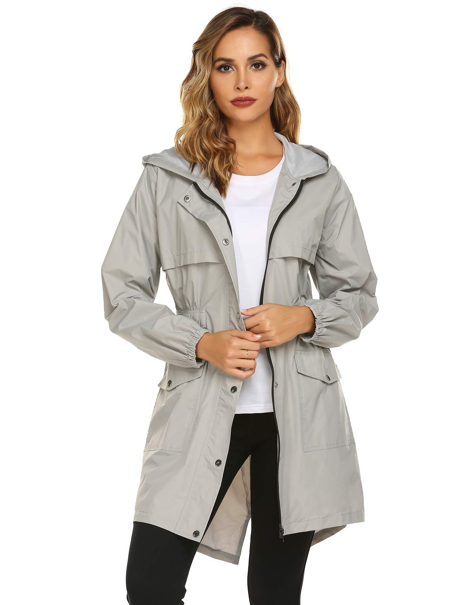 Avoogue Rain Jacket Womens Lightweight Long Raincoat Waterproof Packable Active Hiking Jacket Grey by Avoogue