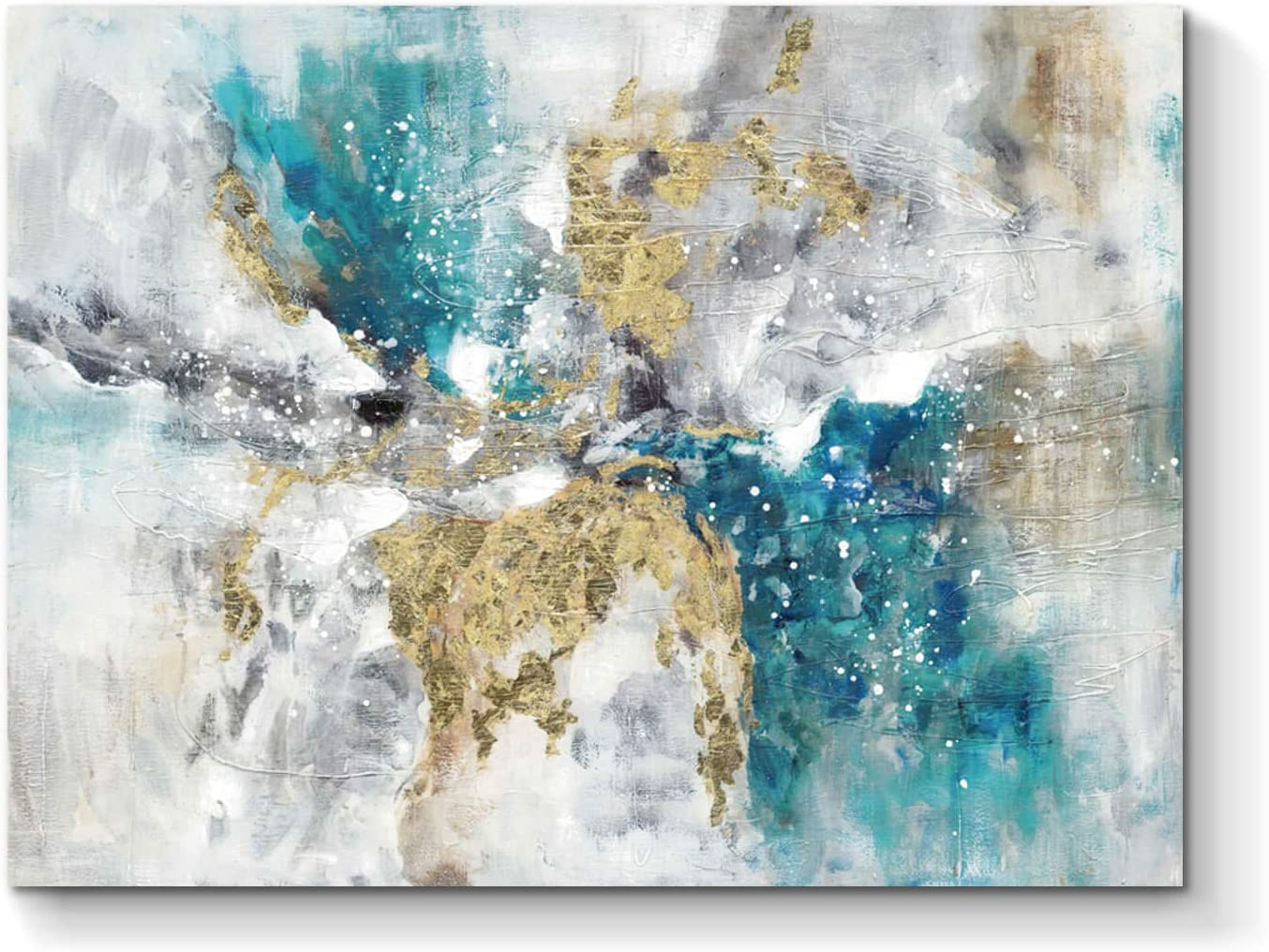 Abstract Wall Art Canvas Artwork: Marble Abstract Heavy Texture Pictures Minimalist Painting with Gold Foil for Bedroom ( 24''W x 18''H, Multiple Sizes )