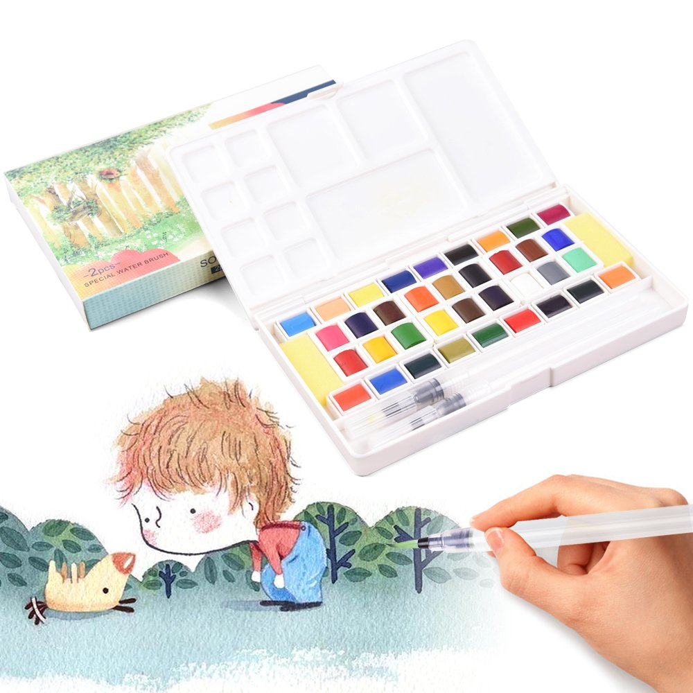 36 Colors Watercolor Paints Set Portable Travel Pocket Solid Pigment Kit Transparent Water Color Paint with Water Brush Pen Palette Art Supplies for Beginner Artists Journal Sketching Painting Coloring Drawing qianshan