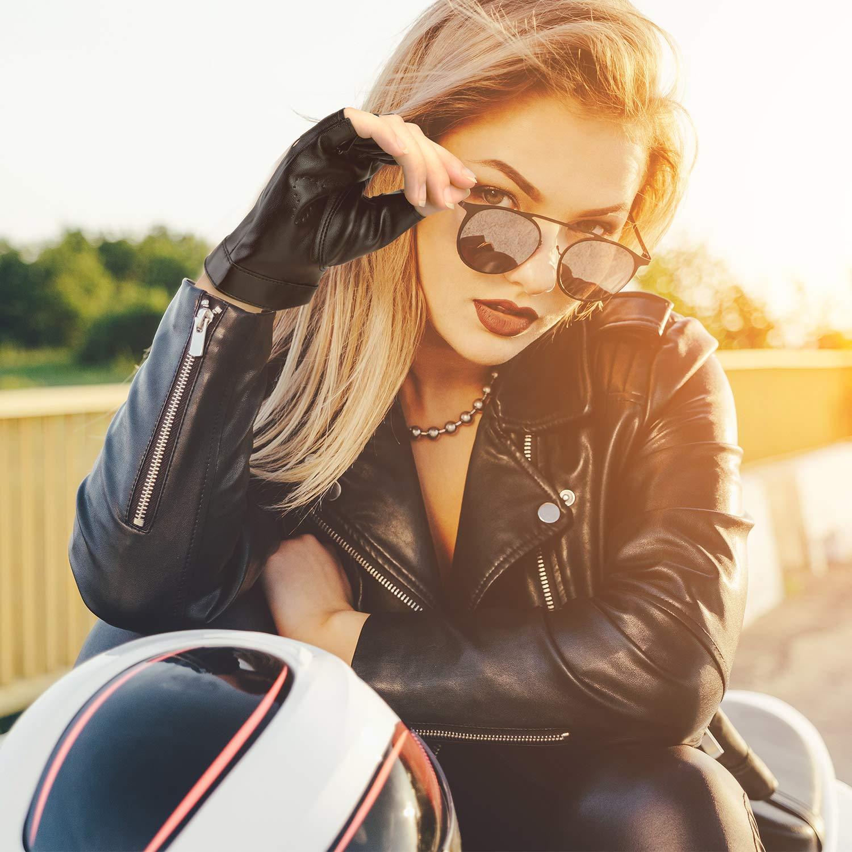 2 Paires Gants sans Doigts Gants sans Doigts en Cuir PU Gants de Danse sans Doigts Punk Gants en Cuir Demi-Doigts de Conduite Gants de Conduite de Mode de Moto pour Femmes