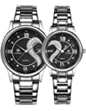 2PCS Watches for Lovers and Couples Fashion Stainless Steel Band Wrist Watches