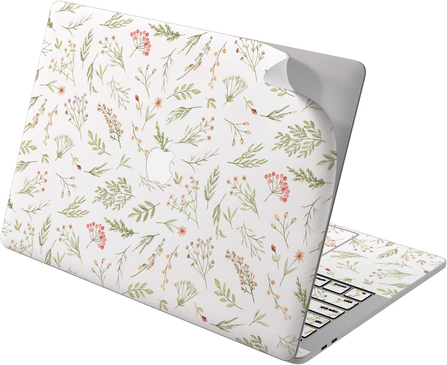 "Cavka Vinyl Decal Skin for Apple MacBook Pro 13"" 2019 15"" 2018 Air 13"" 2020 Retina 2015 Mac 11"" Mac 12"" Wildflowers Cover Sticker Design Pattern Print Girl Perennial Cute Laptop Green Protective Herb"