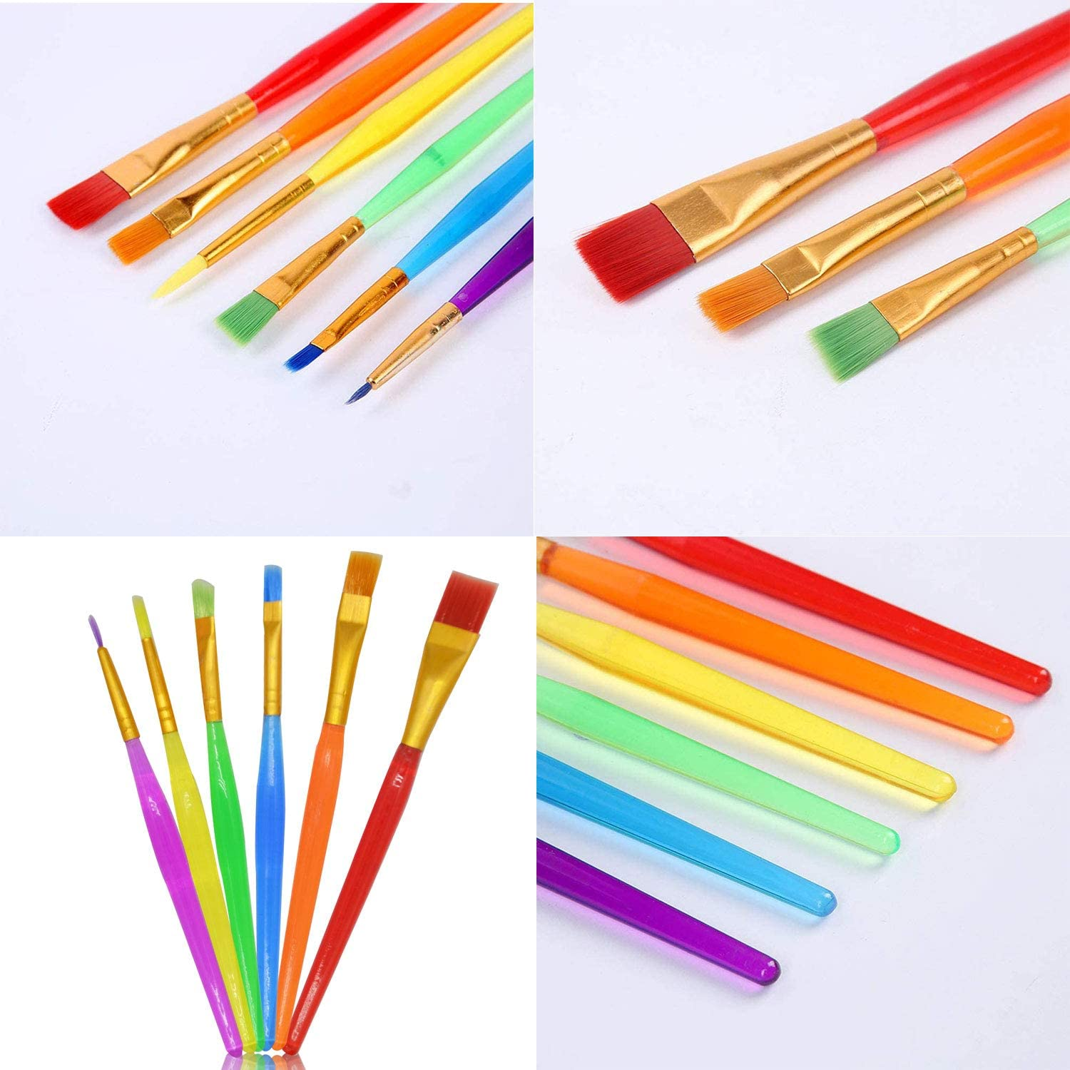 Xfantong 6 Pcs//Set Kids Painting Brush Kit Clean Colorful All Purpose Kids Paint Brush Set for Acrylic Oil Watercolor Gouache Face Painting DIY Craft Professional Art Painting