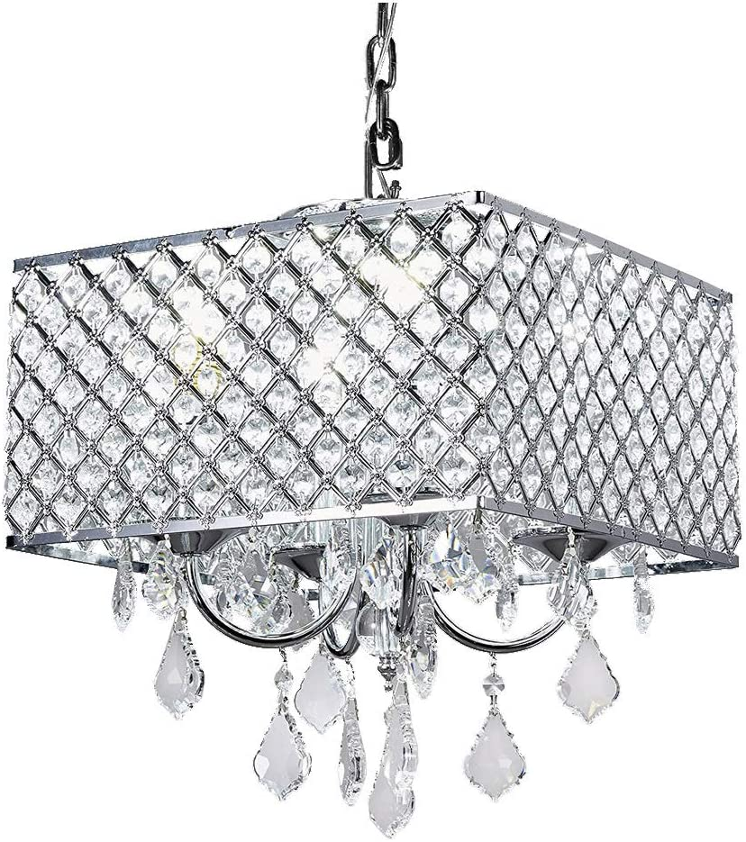 New Legend Lighting Chrome Finish 4-Light Square Pedant Crystal Chandelier