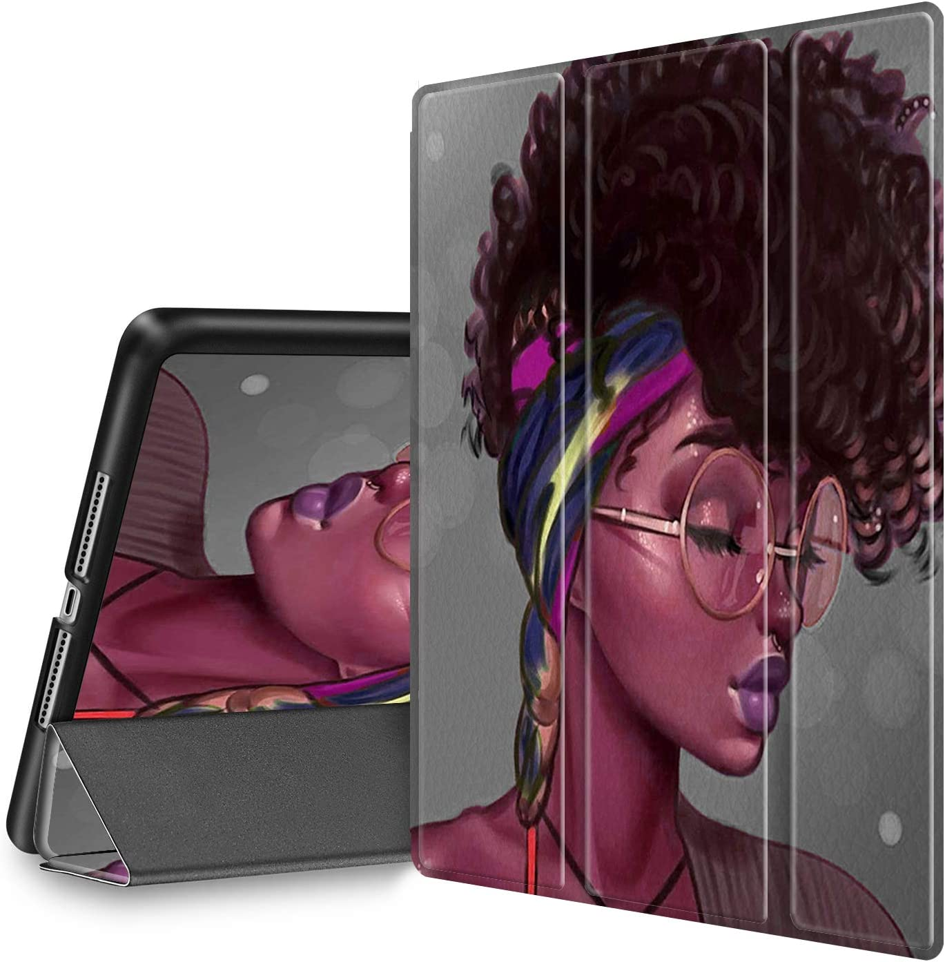 iPad 9.7 2018/2017 Case, Spsun Slim Lightweight with Pencil Holder, Magnetic Auto Sleep/Wake Back Smart Cover for iPad 9.7 inch 5th/6th Generation,African Afro Girls Women