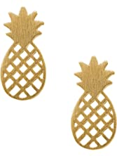 Spinningdaisy Handcrafted Brushed Metal Cute Pineapple Stud Earrings