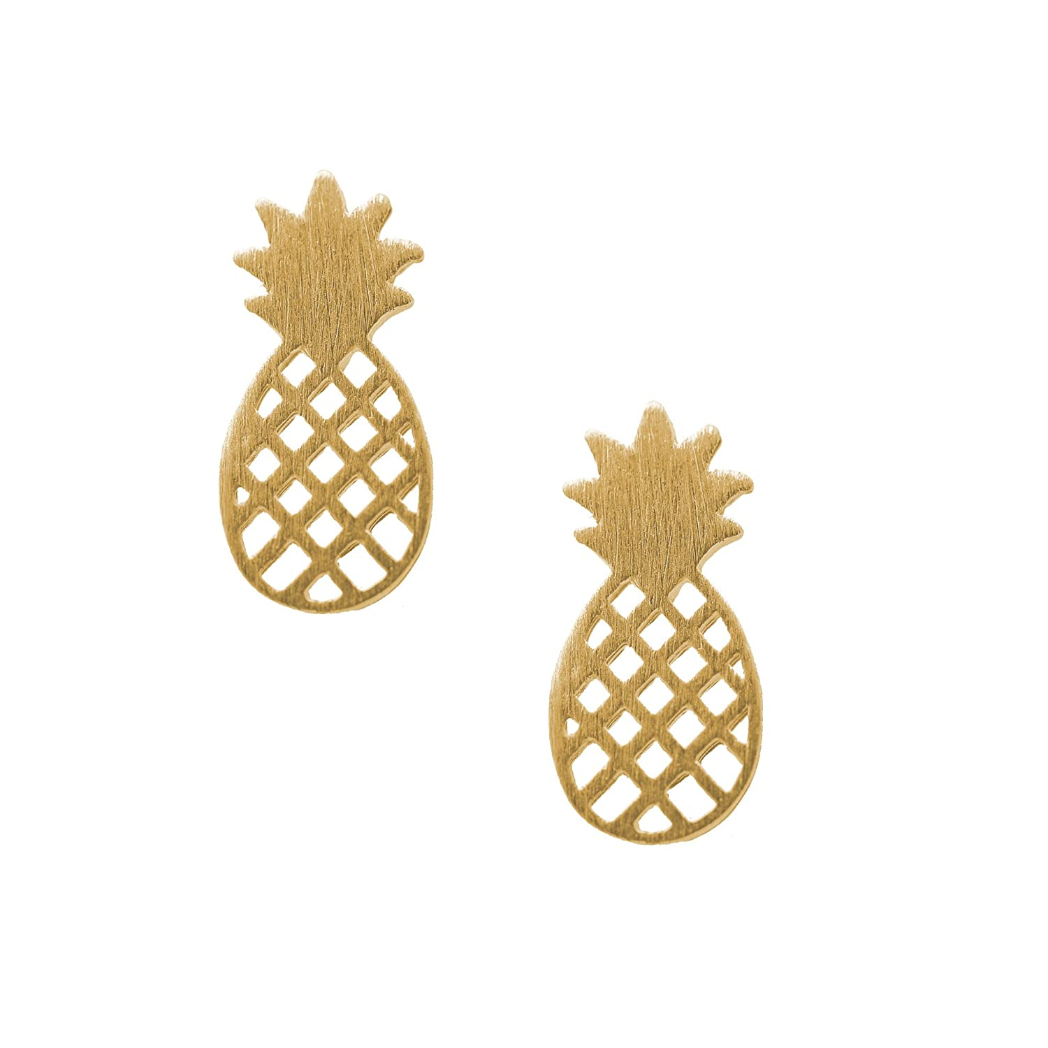 Amazon: Spinningdaisy Handcrafted Brushed Metal Cute Pineapple Stud  Earrings Gold: Jewelry