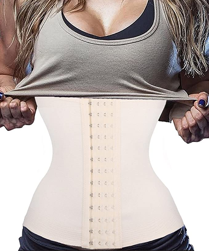 c2f812bee9e 4 Hook And Eye Closure Waist Trainer Corset for Weight Loss Sport Workout  Shaper Tummy 4 Steel Boned at Amazon Women s Clothing store