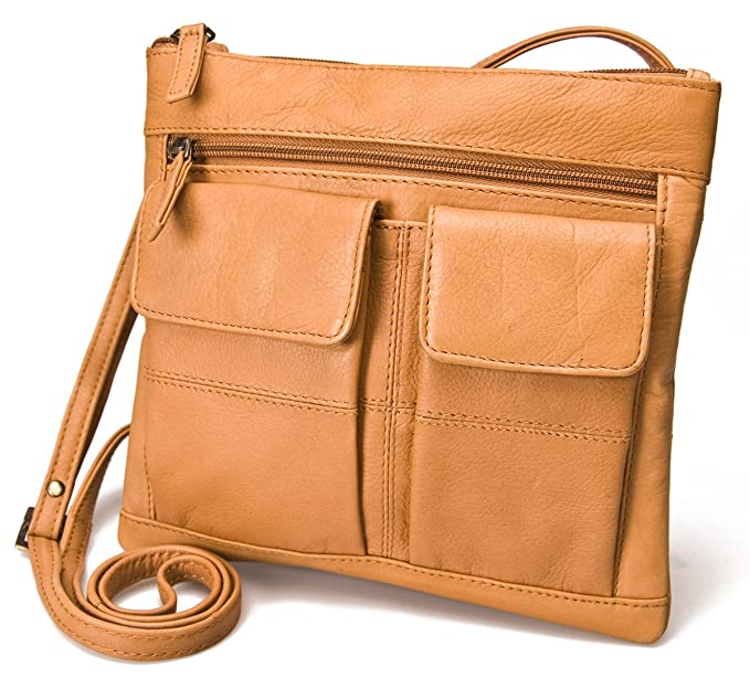 Visconti Atlantic Genuine Soft Leather Small Messenger Shoulder/Cross Body  Bag # 18608A, Sand