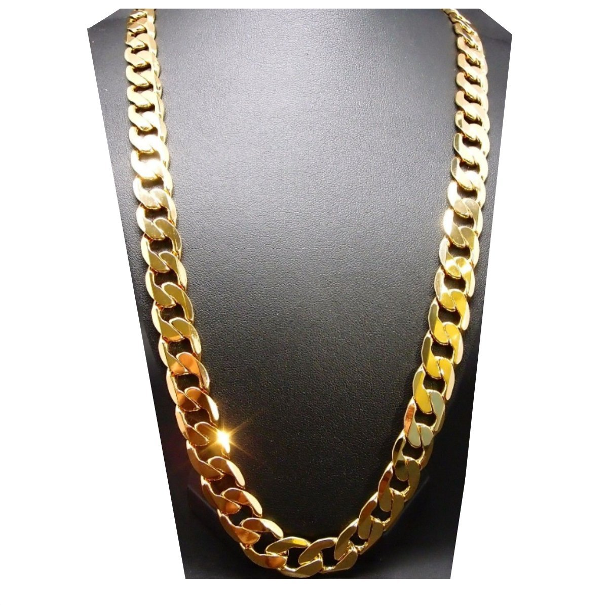 Gold chain necklace 9MM 24K Diamond cut Smooth Cuban Link with a. USA made (24)