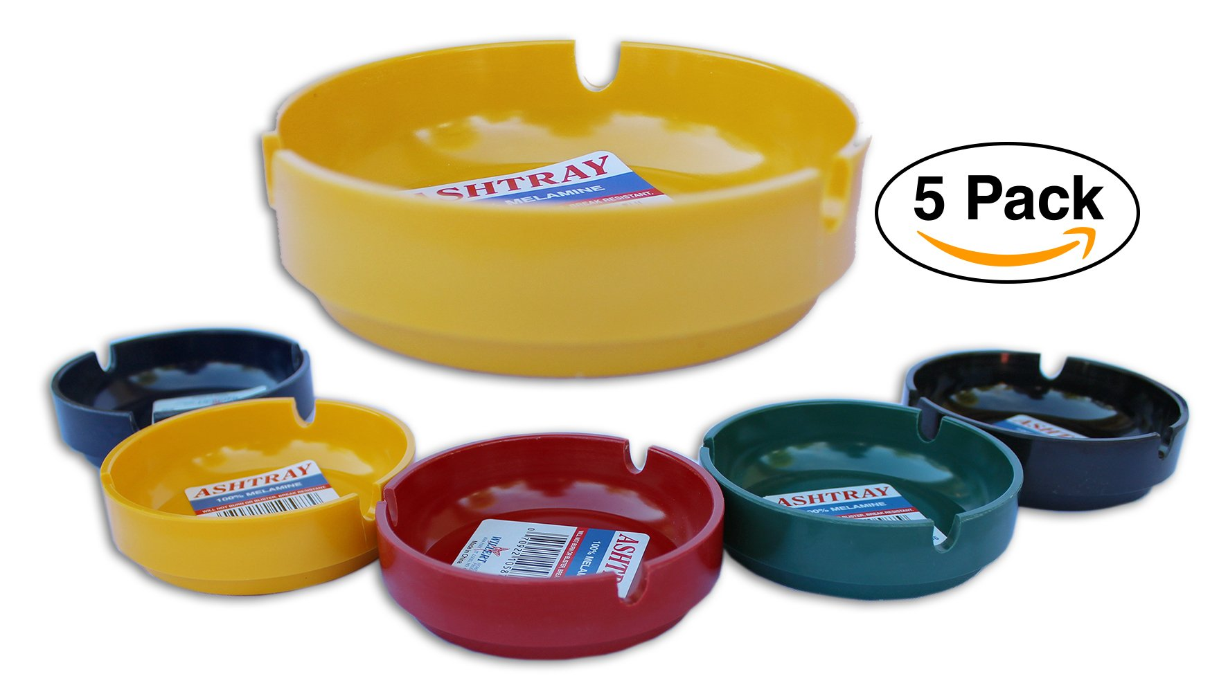 Melamine Ashtray 5 Pack – by Willert Mini 3.5in comes with three cigarette slots.