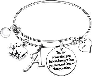 Nimteve Initial Charm Bracelet Elephant Charm Bracelet Gifts for Women Girls Inspirational Bangle 26 Letters Alphabet Bracelets Heart Jewelry Present