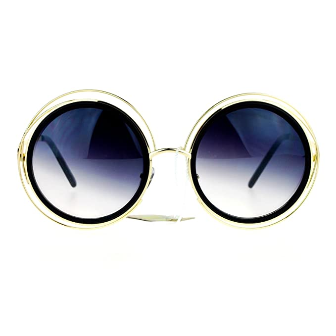 647ad18e8116 SA106 Retro Circle Round Oversize Double Frame Fashion Sunglasses Black Gold