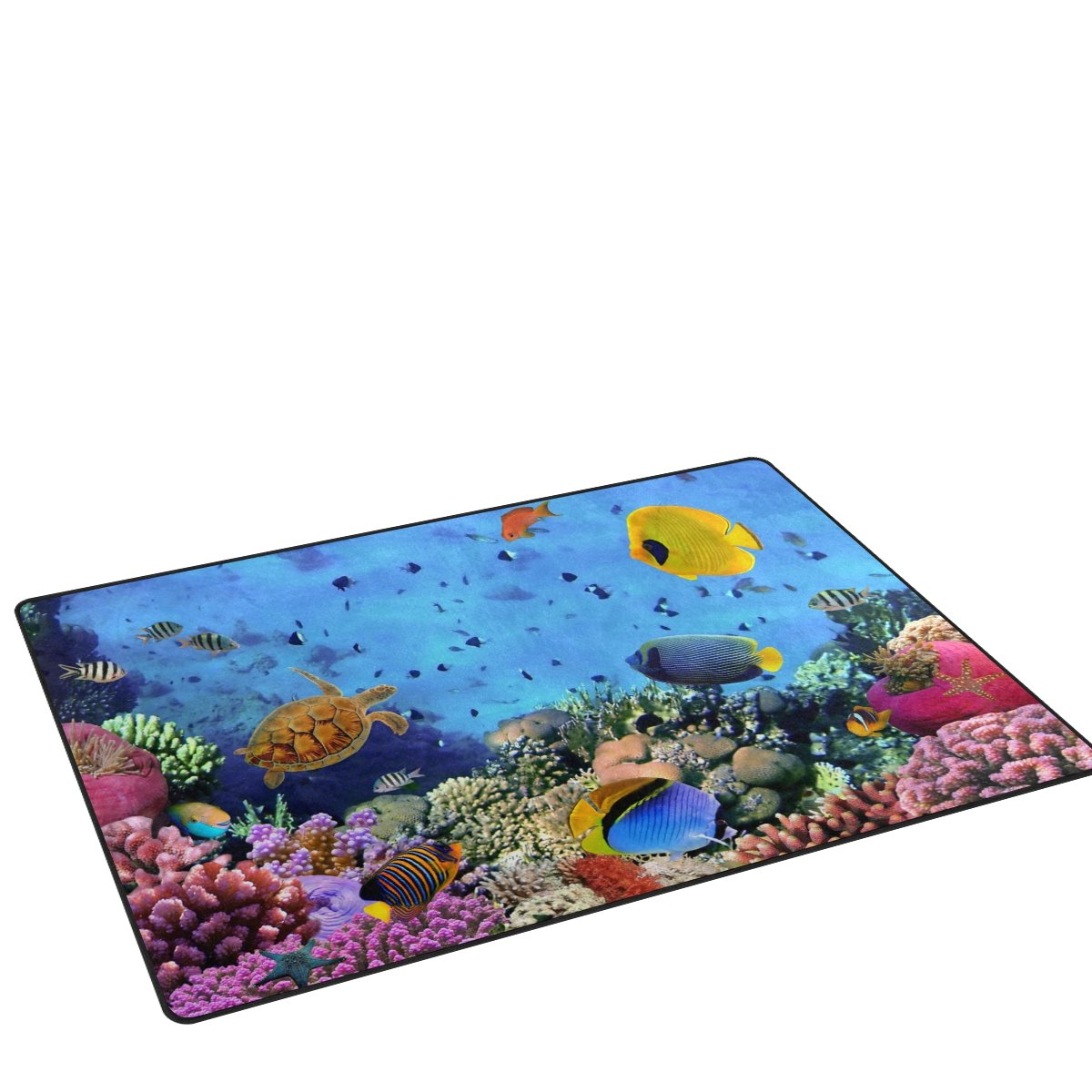 Soft Area Rugs Non-Slip Floor Mat Resting Area Doormats YZGO Coral Colony Red Sea Turtle