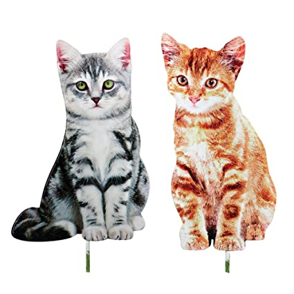 Collections Etc Decorative Cat Outdoor Metal Yard Stakes   Set Of 2