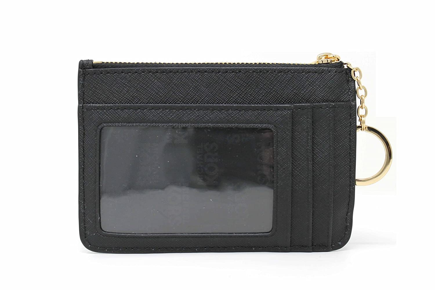 46c462c3f4b8 Michael Kors Saffiano Leather Jet Set Item Small TZ Coin Pouch Card Case  with ID Window (Black)  Amazon.co.uk  Clothing