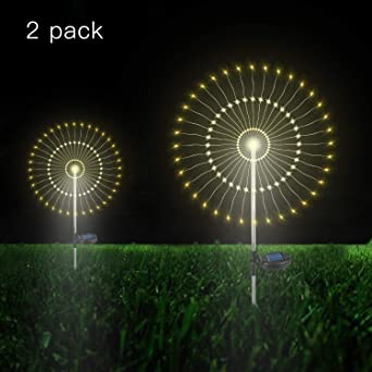 Luces de Jardín Solar, 105 LED Exterior Solares Fuegos Artificiales Luces, DIY Paisaje Decoración Luces Lmpermeable para jardín, césped, Patio(Blanco Cálido, 2 pack): Amazon.es: Iluminación