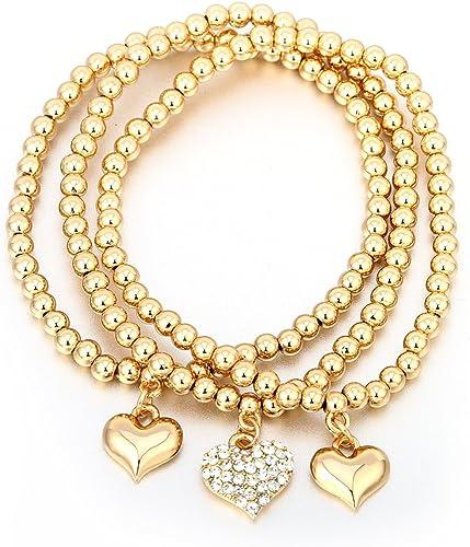 Elegant Women Rhinestone European Charm Beads Bracelet Cuff Bangle Rose Gold 1X