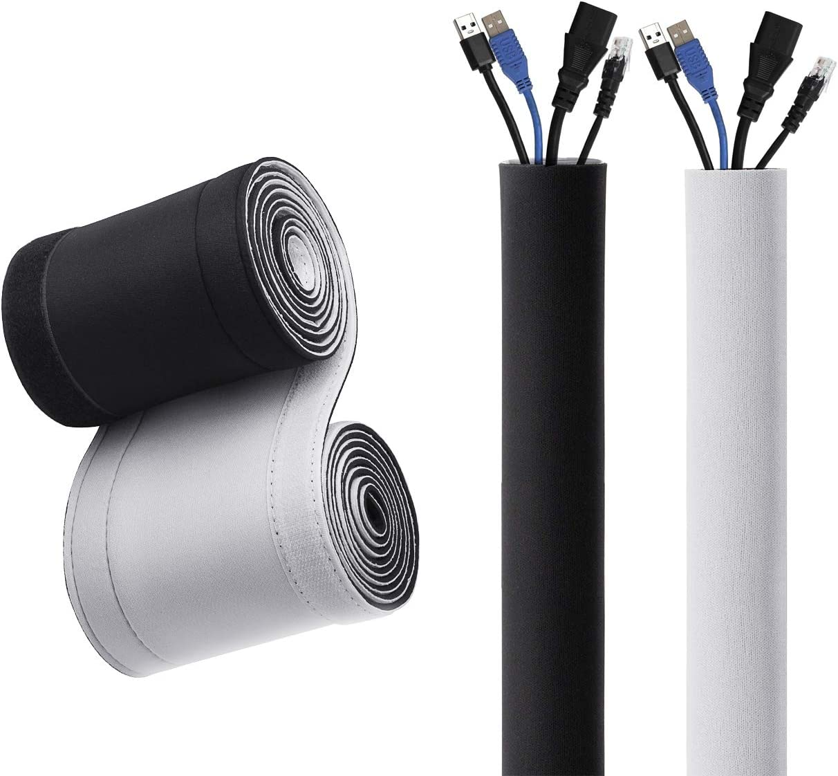 19.5 Inch Neoprene Adjustable Cords Organizer System with Zipper for TV Black MoKo Cable Management Sleeves - Home Entertainment 4 Pack Home Theater Computer