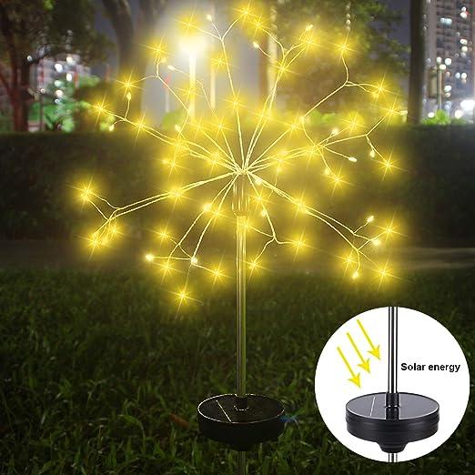 Luces Solares para Jardín, ALED LIGHT Jardín Decorativo 120 LED Exteriores IP65 Impermeable Estaca Energía Solar Fuegos Artificiales Cadena Iluminación Bricolaje para Patio(Blanco Cálido): Amazon.es: Iluminación