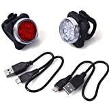 Unigeer LED Bike Lights Set, USB Rechargeable Bicycle Headlight Taillight Combinations (650mAh Lithium Battery, 4 Light Mode Options, 2 USB Cables)