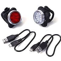 Unigear Phare Lampe LED de Vélo, Lumière Vélo Rechargeable Avant Arrière, 4 Modes de Luminosité, éclairage USB Antichoc Impermeable VTT VTC Cycliste Poussette Camping