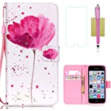 iPhone 5C Case,iPhone 5C Wallet Case,5C Case,CASELAND Flip Cover Wallet PU Leather with Stand + Lanyard Case for iPhone 5C - Lotus
