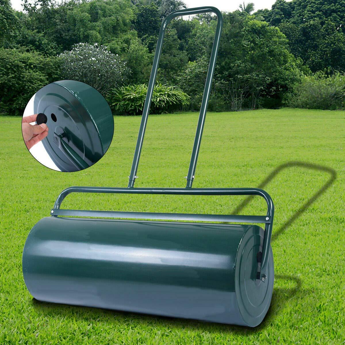 Caraya Heavy Duty Poly Push Tow Lawn Roller Poly Roller 24-Inch x 13-Inch Green