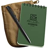 "Rite in the Rain All-Weather 3"" x 5"" Top-Spiral Notebook Kit: Tan CORDURA Fabric Cover, 3"" x 5"" Green Notebook, and an All-Weather Pen (No. 935-KIT)"