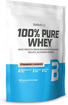 BioTechUSA 100% Pure Whey Complejo de proteína de suero, con aminoácidos añadidos y edulcorantes, sin conservantes, 1 kg, Fresa