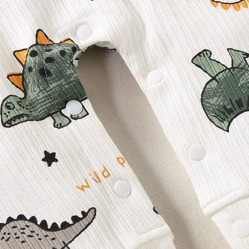 Harpily Neonato Pagliaccetto Invernale Cotone Jumpsuit Manica Lunga Bambino Pigiama Bambino Pigiama Divertenti con Stampa di Dinosauro 0-18 Mesi
