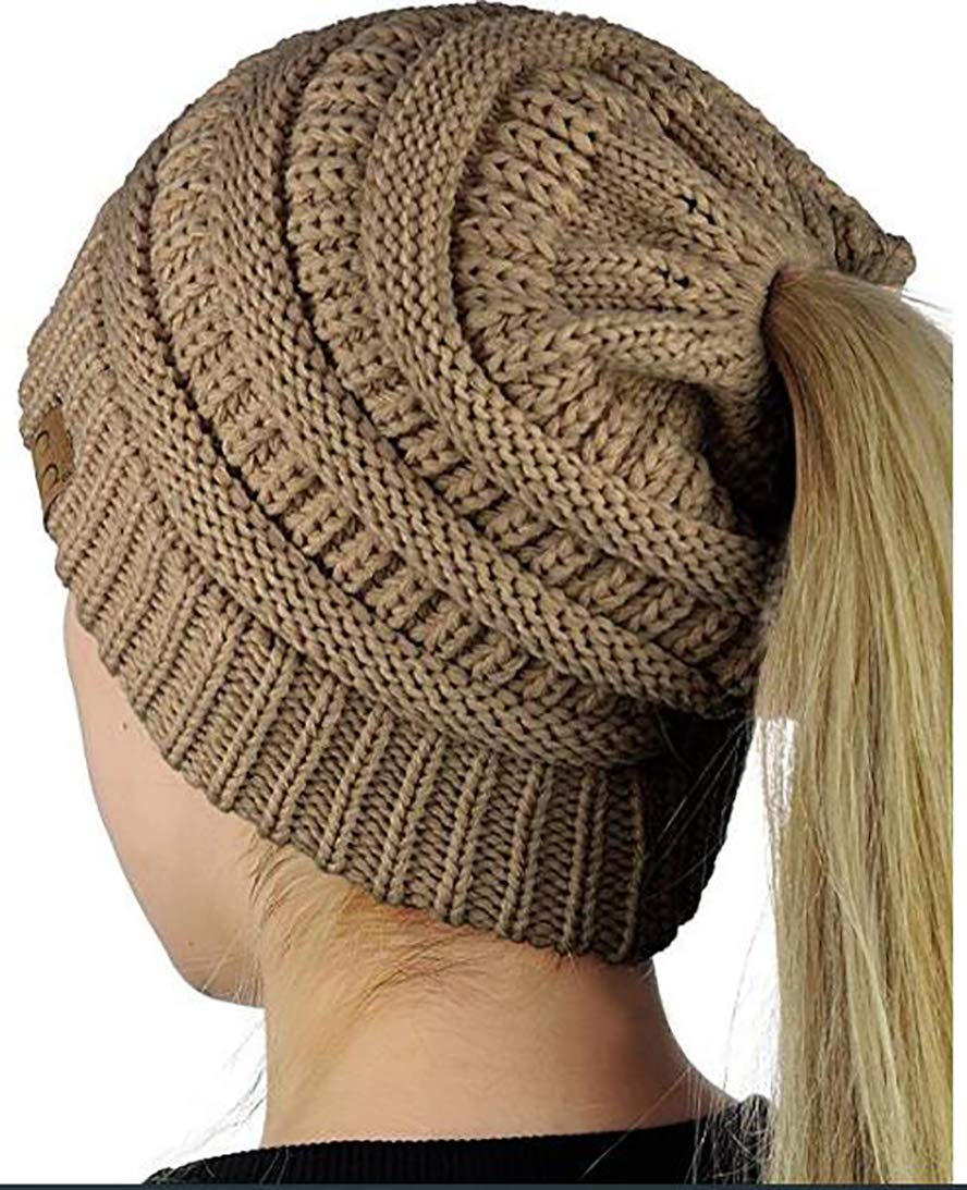 Winter Ponytail Messy Bun BeanieTail Womens Beanie Solid Ribbed Hat Cap