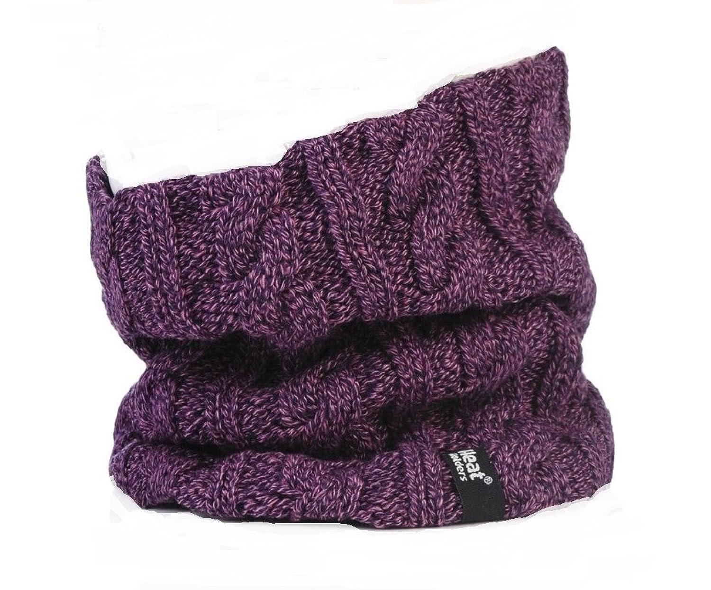 Damen Original thermisch Winter warme Wärmehalter Neck Warmer 3.4 Tog Fleece -Schal Rundschal mit Zopfmuster Lila