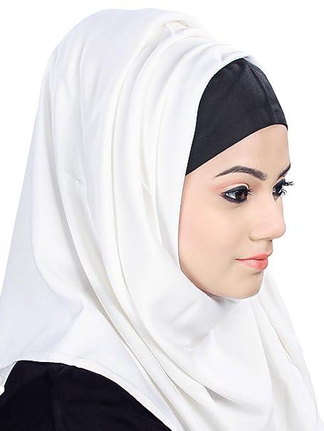 MyBatua Blanco y Negro color dual Aamaal Rayón Hijab traje formal HJ-031: Amazon.es: Ropa y accesorios