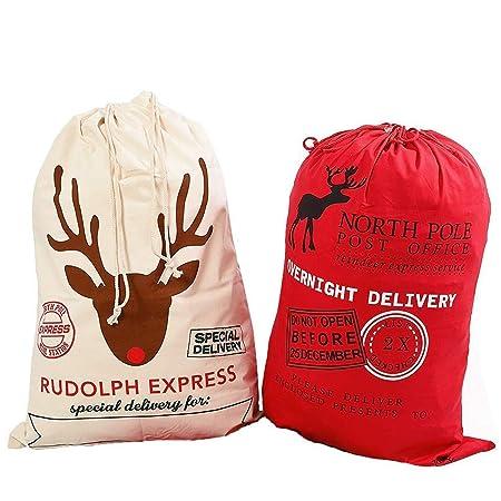 aa341da6977 Style Slice 2 X Extra Large Santa Sack Red Cream - Personalised Christmas  Eve Bag Drawstring